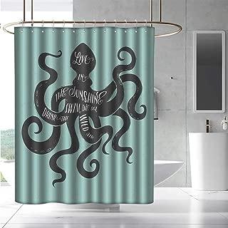 EwaskyOnline Bathtub Splash Guard Octopus Live in The Sunshine Swim The Sea Drink The Wild Air Message Graphic Fabric Shower Curtain Bathroom W48 x L84 Charcoal Grey Turquoise