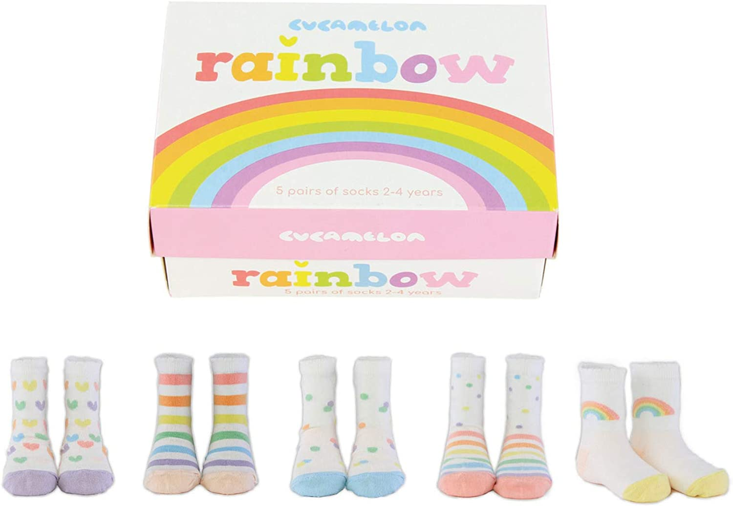 Cucamelon Rainbow 5 Pairs of Toddler Socks 2-4 Years Toddler Giftboxed