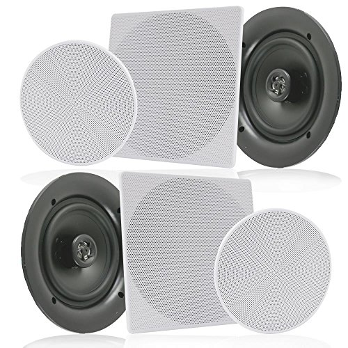 "Pyle Pair 6.5"" Flush Mount In-wall In-ceiling 2-Way Speaker System Spring Loaded Quick Connections Changeable Round/Square Grill Stereo Sound Polypropylene Cone Polymer Tweeter 200 Watts (PDIC1666)"