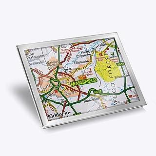 Destination 45672 Set de table en vinyle argenté 20 x 25 cm – Mansfield Travel England UK GB Map Workplace / Table / Salle...