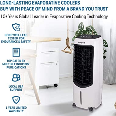 """Honeywell Portable Evaporative Cooler with Fan, Humidifier & Remote, 29.6"""" TC10PEU, White (Renewed)"""