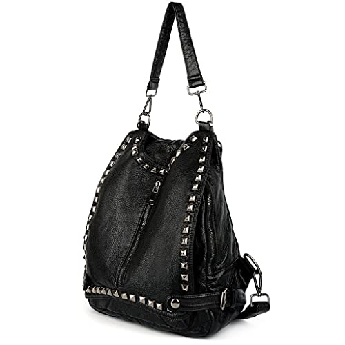7900a192be UTO Women Backpack Purse PU Washed Leather Rivet Studded Convertible Ladies  Rucksack Shoulder Bag