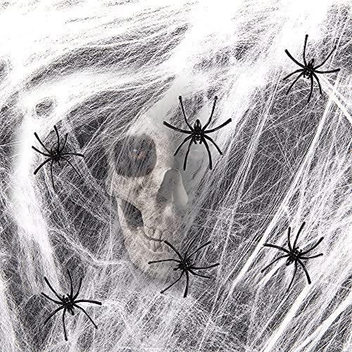 Spinnennetz Halloween mit 30 Spinnen Deko, Oliwan Spinnweben Spinnennetze Halloween Spinnennetz Grusel Deko Gruselige Stoff Gruseliges Käsetuch Dekoration Garten Spukhäuser