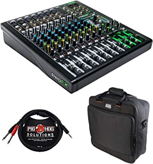 Mackie ProFX12v3 12-Channel Sound Reinforcement Mixer with Built-In FX, Gator Cases G-MIXERBAG-1515 Mixer Bag & Stereo Cable 10ft Bundle