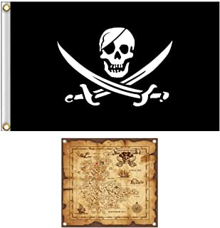 Shmbada Jack Rackham Skull Pirate Flag Jolly Roger Banner with Treasure Map Set for Pirate Party, Double Stitched Polyester Pirate Banner with Brass Grommets for Kids Birthday