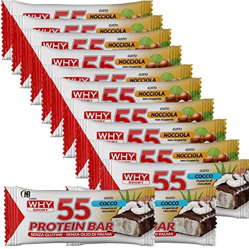 Why Sport Protein Bar 12 Barrette Proteiche da 55 gr. con Vitamine ottime come Pasto Sostitutivo GUSTO CIOCCO CRISP (CIOCCO CRISP)