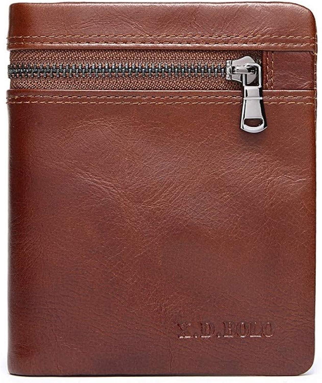KHGUDS Men Wallet Oil Wax Genuine Leather Card Holder Short Clutch Money Bags Man Purse Casual Vintage