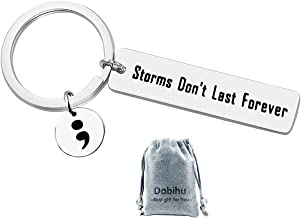 Semicolon Keychain Storms Don't Last Forever Suicide Prevention Awareness Depression Awareness Motivational Inspirational keyring Semi Colon Jewelry,stainless steel