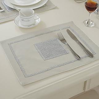 JIAN YA NA Bordslöpare handgjord elegant stil naturlig bordsduk med diamantremsa och tofsar för bröllop och helgdagar 4 Pl...
