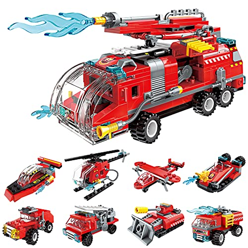 QLT City Fire Truck Building Kit for Kids 6-12 Years Old, Compatible with Lego City Fire Truck 8-in-1 Building Block, Fire Helicopter Toys Building Sets.(313 PCS)