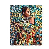 Jcpaint Pintura por Números Kits Mujer Africana DIY Pintura Al Óleo Pintar por Numeros para Adultos Niños Seniors Junior con Pinceles Y Pinturas Decoración del Hogar 40X50Cm Sin Marco
