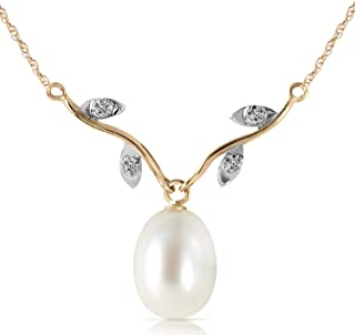 """Galaxy Gold GG 4.02 Carat 14k 18"""" Solid Gold Necklace with Natural Diamonds and Freshwater-cultured Pearl"""