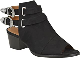 Fashion Thirsty Womens Western Cowboy Sandals Ankle Boots Chunky Block Heels Buckle