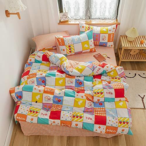 Juego de cama con 2 fundas de almohada, diseño de flores de fresa y pájaros, de algodón para niñas, con diseño de dibujos animados...