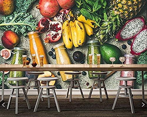 Fotobehang Foto's Sap Fruit Avocado Banaan Restaurant Fruit Shop Drink Shop Zelfklevende Behang Grijs Muursticker Border Woonkamer voor Slaapkamer Rose Blauwe muurschildering Kinderen 300 cm.