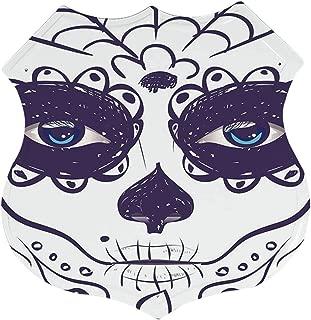 C COABALLA Day of The Dead Decor Economic Polygon Tin Sign,Dia de Los Muertos Sugar Skull Girl Face with Mask Make up for Restaurant,12