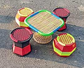 Sifaat World Cane Bamboo Table & Chair Set (1 Table & 4 Chairs) for Outdoor/Indoor/Furnishing,Color: Multicolor,Size : Small