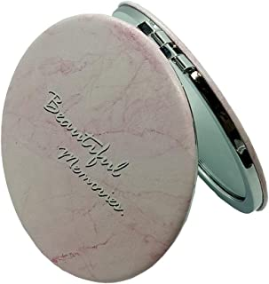 Compact Travel Mirrors for Purse, 3x Magnified Fold Round Makeup Mirror with HD Anti-fog(Pink Grain)