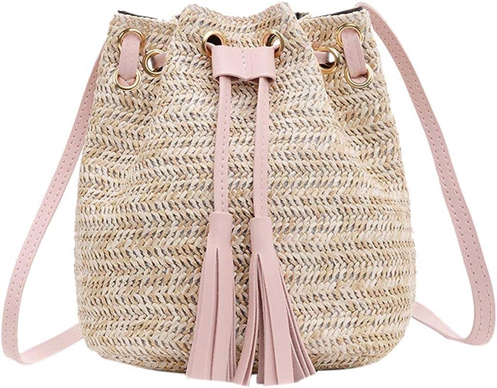Drawstring Bucket Bag Women Straw Weave Shoulder Bag Tassel Purse