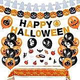 Bluelves Happy Halloween Banner, 30 PCS Halloween Decorazioni Horror, Halloween Palloncini Lattice, Halloween Palloncini Arancioni Neri Kit, Decorazione di Halloween Ghirlande