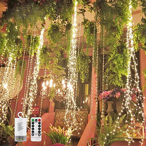 ADLOASHLOU Cortina de Luces Led, Cadena de Luces con Ganchos/8 Modos de Iluminación/Luces Blancas Cálidas 220 LED/Resistente al Agua/Carga con Pilas para Decoración de Fiestas Bodas Navidad 1piece