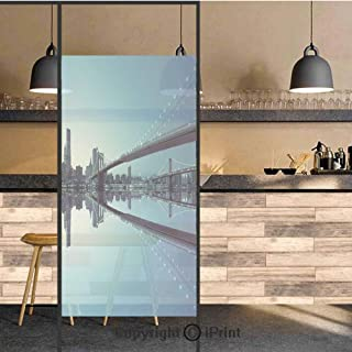3D Decorative Privacy Window Films,NYC Landscape Manhattan Skyline Panorama Monochrome Picture Modern Home Artwork,No-Glue Self Static Cling Glass film for Home Bedroom Bathroom Kitchen Office 24x71 I