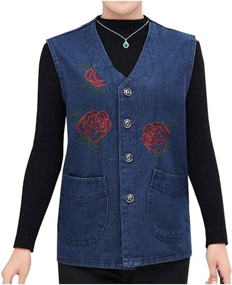 SCOFEEL Women's Embroidered Denim Vest Sleeveless Jean Jacket Waistcoat
