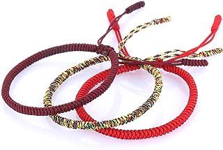 Woven Bracelet Hand-Knitted Lucky Rope Bracelet Tibetan Buddhist Traditional Wristbands Wrist Cuff Adjustable Handmade Fri...