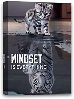 Mindset is Everything Canvas Art Funny Cat Illustration Inspirational Canvas Motivational Art Framed Room Decor Ready to Hang Picture Mindset is Everything Cat 24