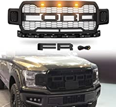 Modifying Front Grille Fits 2018-2019 FORD F150 ABS Mattle Raptor Style Honeycomb Grill with Conversion Letter - Black