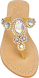 PASHA Jewelry Sandals Flats, Corinth Rainbow (8)