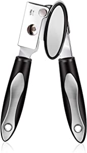 Can Opener Manual, Food Grade Stainless Steel Can Opener Smooth Edge Heavy Duty Tin Opener with Ultra Sharp Cutting Wheel Easy-to-Turn Knob Comfortable Non-slip Grips for Seniors with Arthritis