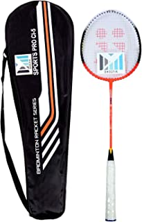Ohotnik Badminton Racquet with Full Cover (Single Badminton Rackets)-Without T Joint Red, Black Strung Wide Body Badminton Racquet