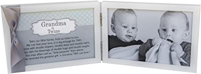 Includes Beautiful Sentiment//Poem and Accented White Ribbon Grandson White Double Hinged Tabletop Photo Frame Holds 4x6 Pictures or Ultrasounds First Grandchild Picture Frame