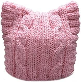 BIBITIME Handmade Knit Pussycat Hat Women's March Parade Cap Cat Ears Beanie