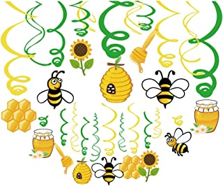 Kristin Paradise 30Ct Bee Honey Hanging Swirl Decorations, Bumblebee Gender Reveal Party Supplies, Bumble Birthday Theme, Beeday Baby Shower Paper Decor, Bee Day Favors for First 1st Boys Girls Bday