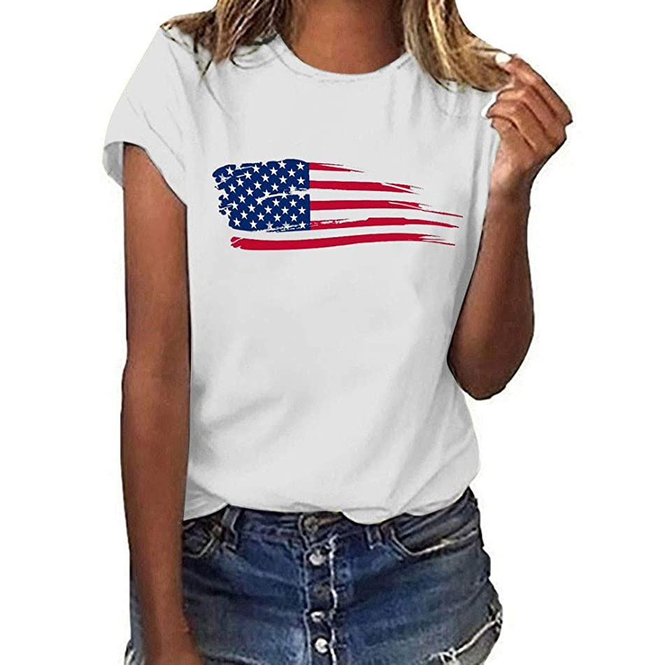 Eaktool T Shirts for Women,Women Plus Size National Flag Independence Day Print Short Sleeve T-Shirt Tops
