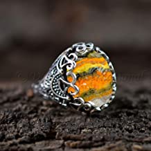 Bohemian Ring Natural Bumble Bee Jasper Gemstone 925 Sterling Silver Jewelry Artisan Made Jewelry Anniversary Gift for Wife Hipster Ring