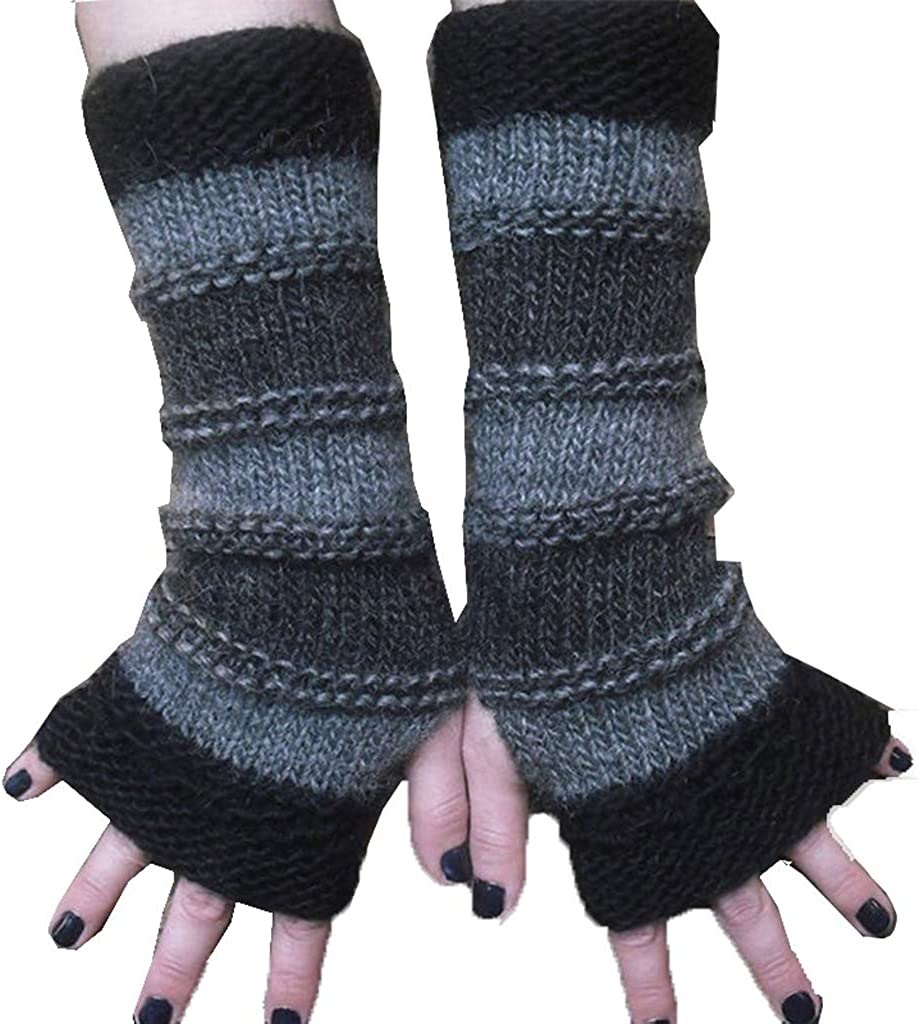 Adult Fingerless Gloves Winter Knitted Stitching Striped Keep Warm Long Gloves