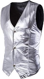 Men's Suit Vest, Mens Shiny Sliver Sleeveless Vest Casual Slim Fit Gilet Tuxedo Vest Men Wedding Stage Club Singlet (Color: Gold, Size: XXL) (Color : Silver, Size : XL)