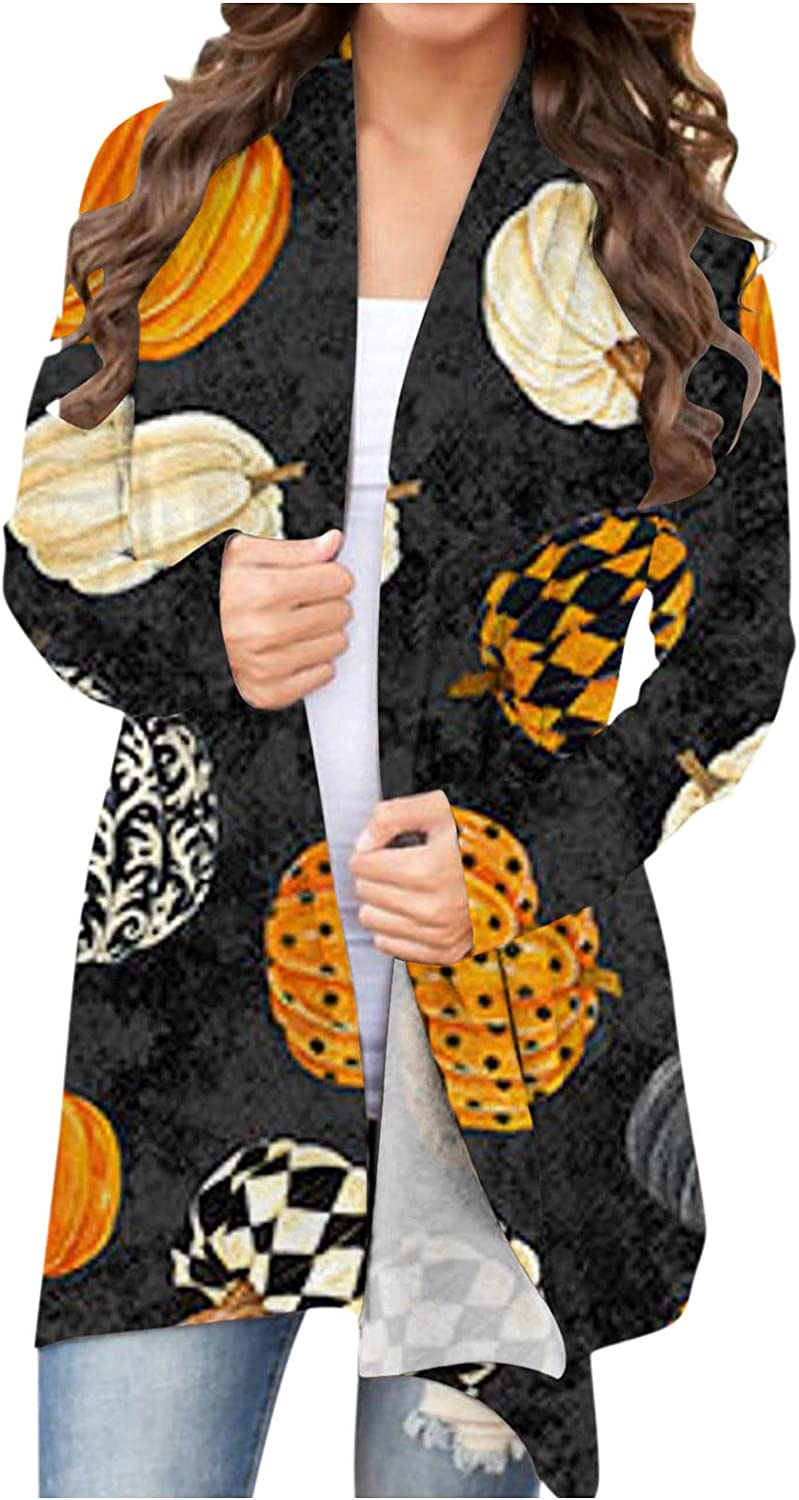 UOCUFY Womens Lightweight Cardigans, Womens Halloween Open Front Funny Pumpkin Ghost Printed Top Long Sleeve Coat