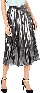 MICHAEL KORS Womens Silver Pleated Foil Coated Midi Skirt US Size: 16