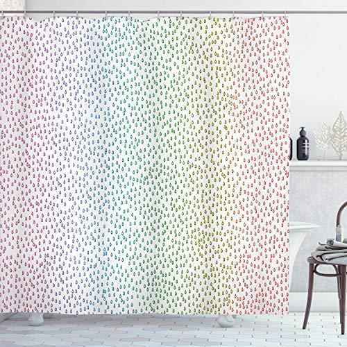 ABAKUHAUS Abstrakte Kunst Duschvorhang, Regenbogen Regentropfen, mit 12 Ringe Set Wasserdicht Stielvoll Modern Farbfest & Schimmel Resistent, 175x200 cm, Mehrfarbig