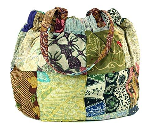 Guru-Shop Hippie Tasche, Patchwork Shopper, Schultertasche, Herren/Damen, Mehrfarbig, Baumwolle, Size:One Size, 40x40x13 cm, Alternative Umhängetasche, Handtasche aus Stoff
