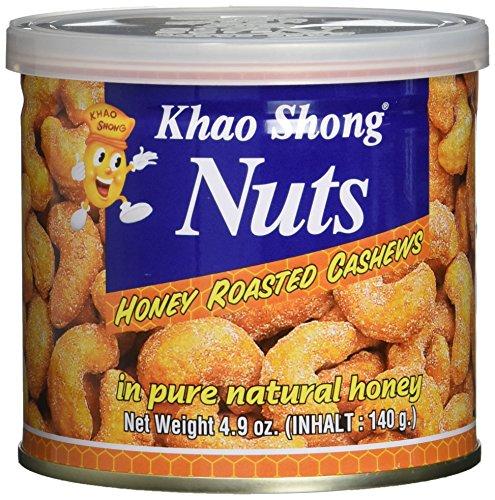 Khao Shong Honey Roasted Cashews, geröstete Cashewkerne mit Honig überbacken, knuspriger Snack für unterwegs, (1 x 140 g Dose)