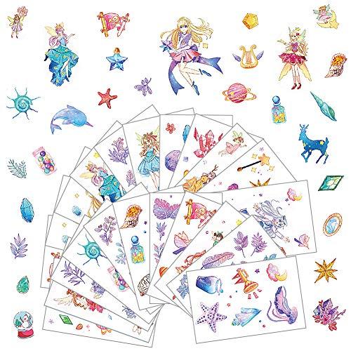 FANDE Pegatinas para Niños, 36 Hojas Diferentes, para Infantil de Fiesta Cumpleaños Regalo Niño Niña Gratificantes Scrapbooking, Unicornio, Elfo, cáscara, Cristal Etc