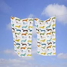 Rapport kolorowa kiełbasa pies jamnik bardzo miękki 100% bawełniany ręcznik, Multi, 70 x 120 cm