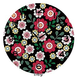 ALUONI 10 inch Round Clock Colourful Flower Seamless Pattern Unique Wall Clock-for Living Room, Bedroom or Kitchen Use SW99823