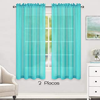 HUTO Window Sheer Turquoise Curtains for Bedroom Rod Pocket Voile Sheer Drapes for Living Room 2 Panels Curtains Each is 52 inches Wide by 63 inches Long