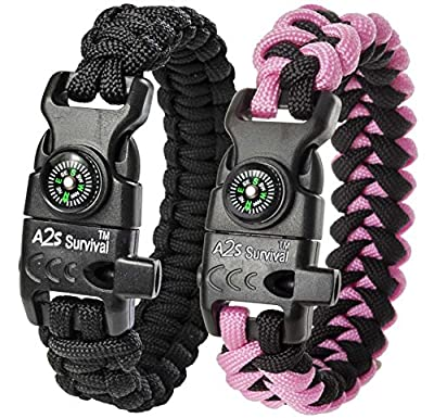 "A2S Protection Paracord Bracelet K2-Peak – Survival Gear Kit with Embedded Compass, Fire Starter, Emergency Knife & Whistle (Black / Pink 7.5"" for Kids)"